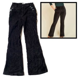 MODCLOTH Medium Black Velvet Flare Leg Pants